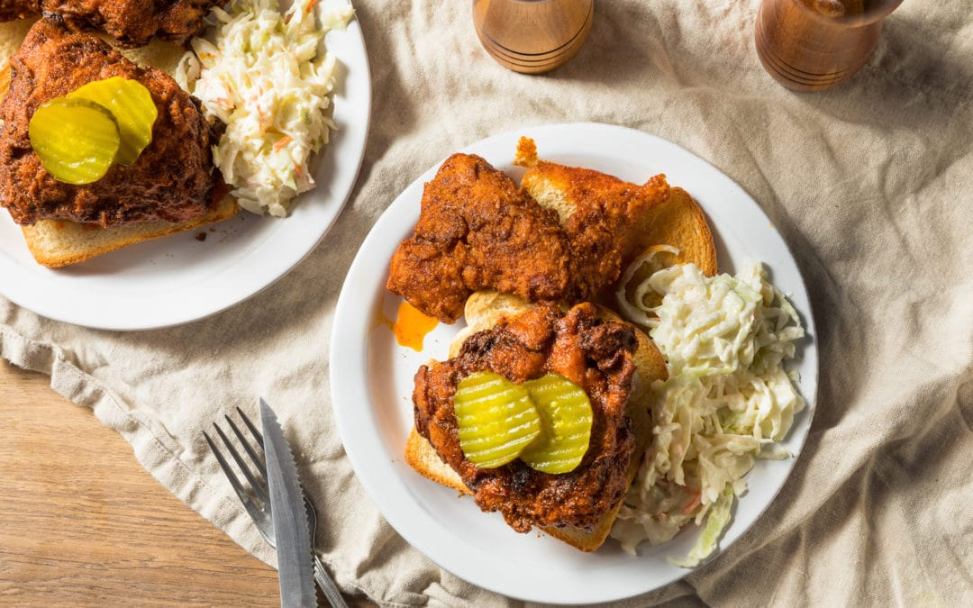 Homemade Nashville Hot Chicken with Bread and PIckles